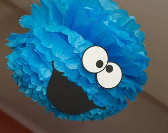 Cookie Monster Pom Pom, Cookie Monster, Blue Pom Pom, Cookie Monster Party decorations