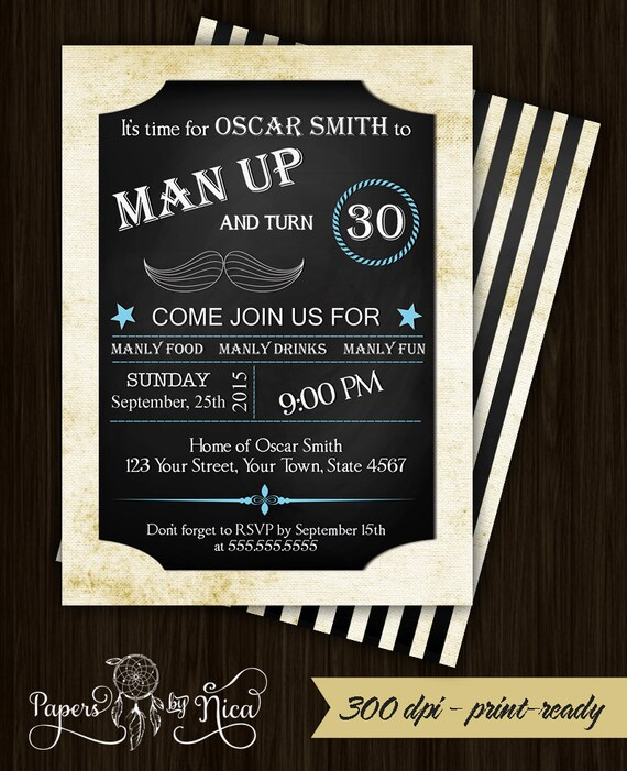 Men chalkboard birthday invitation mustache birthday filmwisefo Choice Image