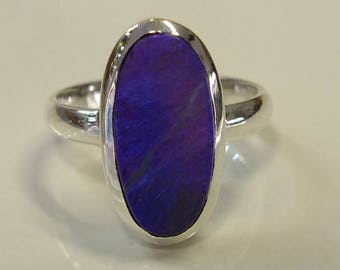 Large Black opal silver ring .