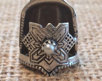 Jinny Beyer Logo Blunt Fingertip Style  Thimble with Gem Open Nail Sewing Thimble by TJ Lane