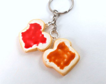 Best Friend Keychain Gift Peanut butter and Jelly gift for husband boyfriend strawberry pbj we go together like peanut butter to my jelly