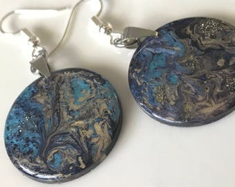 Fluid Art Earrings, OOAK Hand Painted Jewelry, Unique and Thought Provoking, EXPRESS YOURSELF!(also made to order) Blue Gold