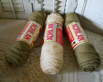 Vintage Acrilan 100% Acrylic Worsted Yarn 3 Skeins 1 Fisherman Ivory 2 Camel Crafts Knitting Supplies