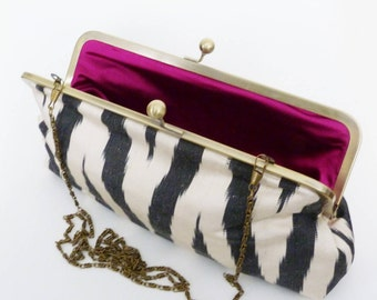 Clutch bag, ikat fabric, black and white silk ikat design, evening purse