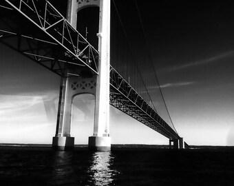 Mackinac Bridge Black and White Fine Art Photography Wall Art