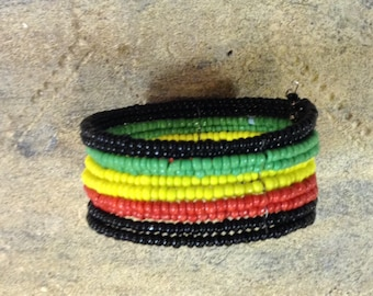 Black, Yellow, Green, and Red Multibeaded Bracelet