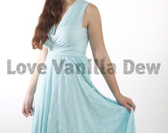 Bridesmaid Dress Infinity Dress Pastel Blue Lace Knee Length Wrap Convertible Dress Wedding Dress