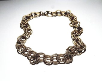 Vintage Gold Textured Double Links Necklace