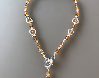 "Topaz Swarovski 6 & 8mm 16"" Peace Necklace"