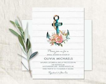 Nautical Bridal Shower Invitation Floral Anchor Wedding Shower Invitations Baby Shower Anchor Invitation Bridal Shower Template Printable
