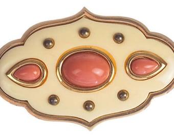 Givenchy Pink Faux-Coral Cabochon Pin
