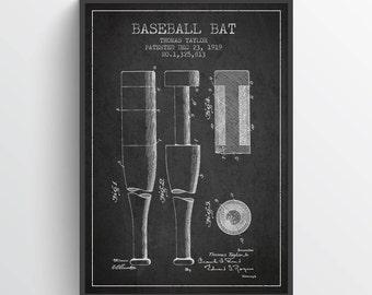 1919 Baseball Bat Patent Poster, Baseball Poster, Baseball Art Print, Baseball Wall Decor, Home Decor, Gift Idea, SPBA02P
