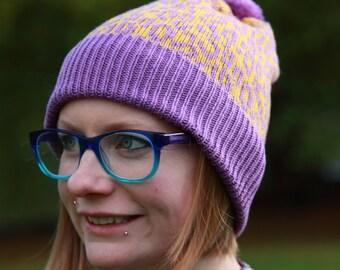Knitted Pom-Pom Beanie/Bobble Leopard Print Hat in 100% Merino Wool - gold & purple, sustainable, animal print ski, gift for teen, her