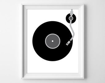 Vinyl Record Print, Minimal Wall Art, Record Wall Art, Turntable Print, Music Print, Music Lover Gift, Retro Record Player, Instant Download