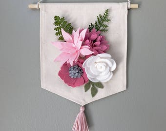 Pink Felt Flower Garden Canvas Banner / Wall Hanging - Ready to Ship