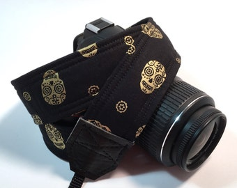 DSLR Camera Strap, Sugar Skull Camera strap, Nikon Camera Strap, Canon Camera Strap, Graduation Gift, Wedding Gift, Travel