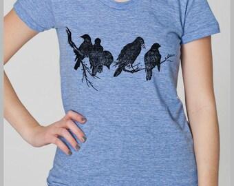 Women's Birds T Shirt - Birds on a Limb - Nature American Apparel TShirt Screen Printed Shirt Block Print Clothing S, M, L, XL 8 COLORS
