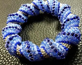 BEACH IDEAL BRACELET Blue Tones Glass Weaved Bangle Bracelet