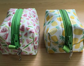 The Fruit Collection - Change Purses and Pencil/Toiletry Cases in Lemon, Peach, Pineapple and Watermelon Prints!