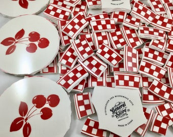 150 Red Checkered Broken China Mosaic Tiles Plus 3 Red Cherry Focals