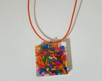 Resin necklace made with sprinkles fun unique