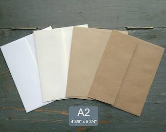 """25 A2 Envelopes, RSVP Envelopes, Note card Envelopes, 100% Recycled, 4 3/8"""" x 5 3/4"""" (111x146mm), white, natural white, light or kraft brown"""