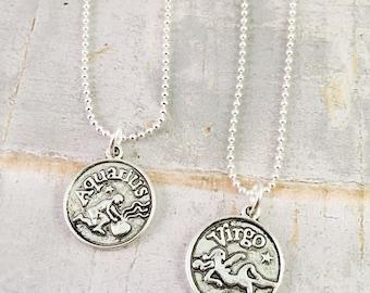 Zodiac necklace, zodiac charm necklace, horoscope necklace,  birth sign, Aries, Taurus, Leo, Virgi, Capricorn, Aquarius, Pisces, Gemini