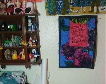 True Til Death 5 Art Quilt wall hanging stitched flower fabric scrap quilt Funky Remnants