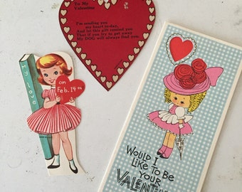 Set of three vintage valentines cards