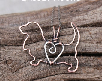Basset Hound Necklace, Copper Dog, Dog Outline, Wire Jewelry