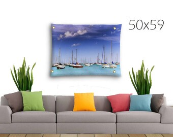 Blue Wall Decor-Coastal Wall Decor-Water Tapestry-Fine Art Tapestry-Outdoor Tapestry-Lake Michigan Tapestry-Chicago Harbor-Sailboat Tapestry