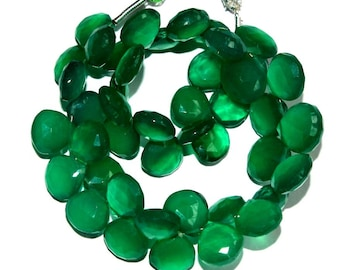 "Full 7"" 44 Pcs Natural Green Onyx Faceted Heart Briolettes Size 8-9 mm Gemstone Briolette Semiprecious Beads TB09"