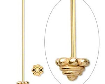 Pair of (2) Gold Vermeil Headpin, 5mm decorative head, 2 in. long, 21 gauge