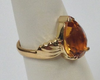 Natural Citrine Solitaire Ring 925 Sterling Silver with 14kt Yellow Gold Plated