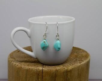 Turquoise, Gemstone Earrings, Southwestern Earring, Stone Earrings, Dangle Earrings, Metaphysical Simple Earrings, Woman's, E314
