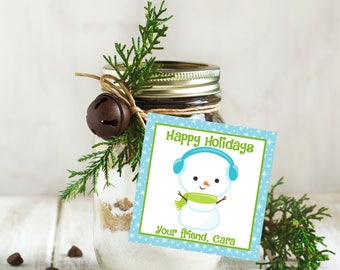 Happy Holiday Tags, Personalized Christmas Tags, Printable Holiday Tags, Printable Christmas Labels, Snowman Tags, Christmas Favors