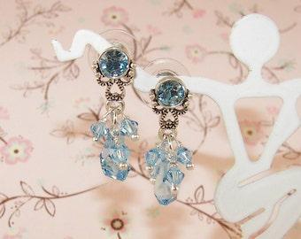 Indicolite Sky Blue Elegant Take me to the Ball Fancy Dance Swarovski Crystal Post Stud Dangle Earrings