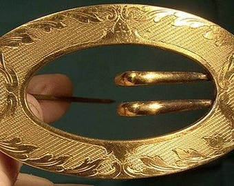 EA Bliss Gold Plated Buckle Sash Brooch 1895 later NAPIER