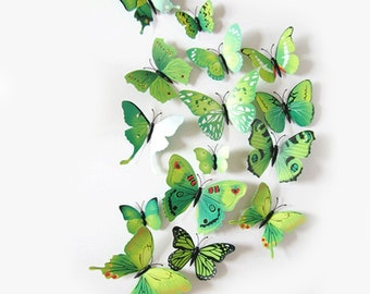 12Pc 3D PVC Butterflies Wall Stickers Decoration Wedding Cake Toppers Home Decor School Craft DIY  - Green Shades