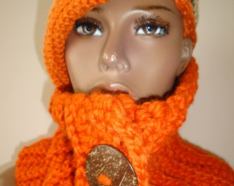 Cowl Scarf Crocheted - Neckwarmer - Scarf- Cowl- matching hat- MultiScarf - Orange Blend - Wood Buttons