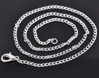 """16"""" Curb chain necklace in bulk, 12 Silver Plated Lobster Clasp Link Chain Necklaces 2x3mm, 4101, 304a"""
