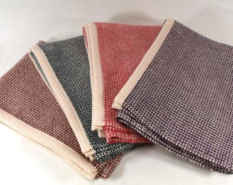 Hand Woven Tea Towels Multi-color Natural Burgundy Purple Navy Bright Red Pebble Weave