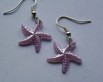 Dangle Lavender Starfish Earrings   #238