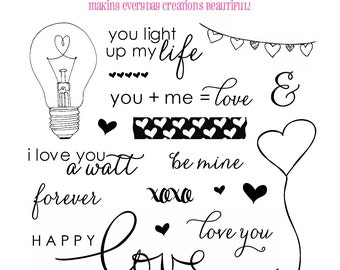 Valentine Stamps - Happy Love Day Stamps -  Anniversary Stamps Love Stamps - Planner Stamps