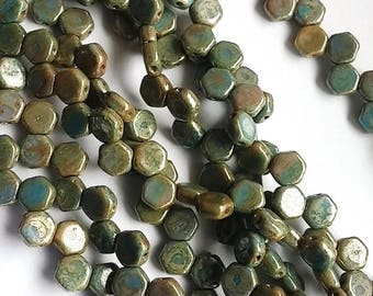 Hodge Podge Honeycomb Blue Picasso, Hex 2-Hole Beads Czech Glass 6mm, 699995-43400 30 beads