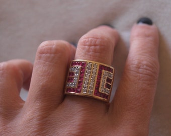 Large Diamond And Ruby Deco Style Ring