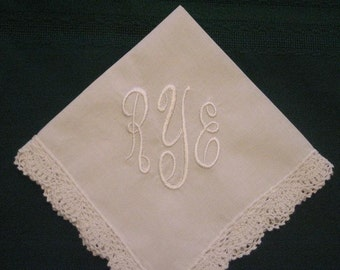 Monogrammed Wedding Hankie with 3 initials and date