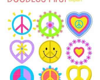 Peace And Love Clip Art for Scrapbooking Card Making Cupcake Toppers Paper Crafts SVG Cuts