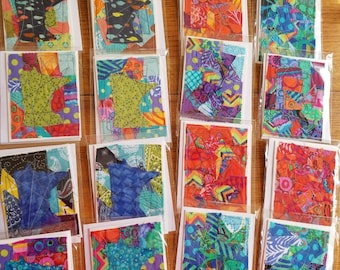 Fabric quilt greeting cards, pack of four.  Multicolor.