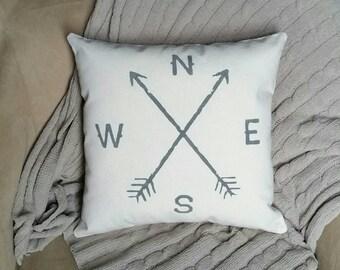 Compass with arrows pillow   14x14 inch throw pillow   Rustic decor   Nautical decor   Boho Pillow   Living room decor   family room decor